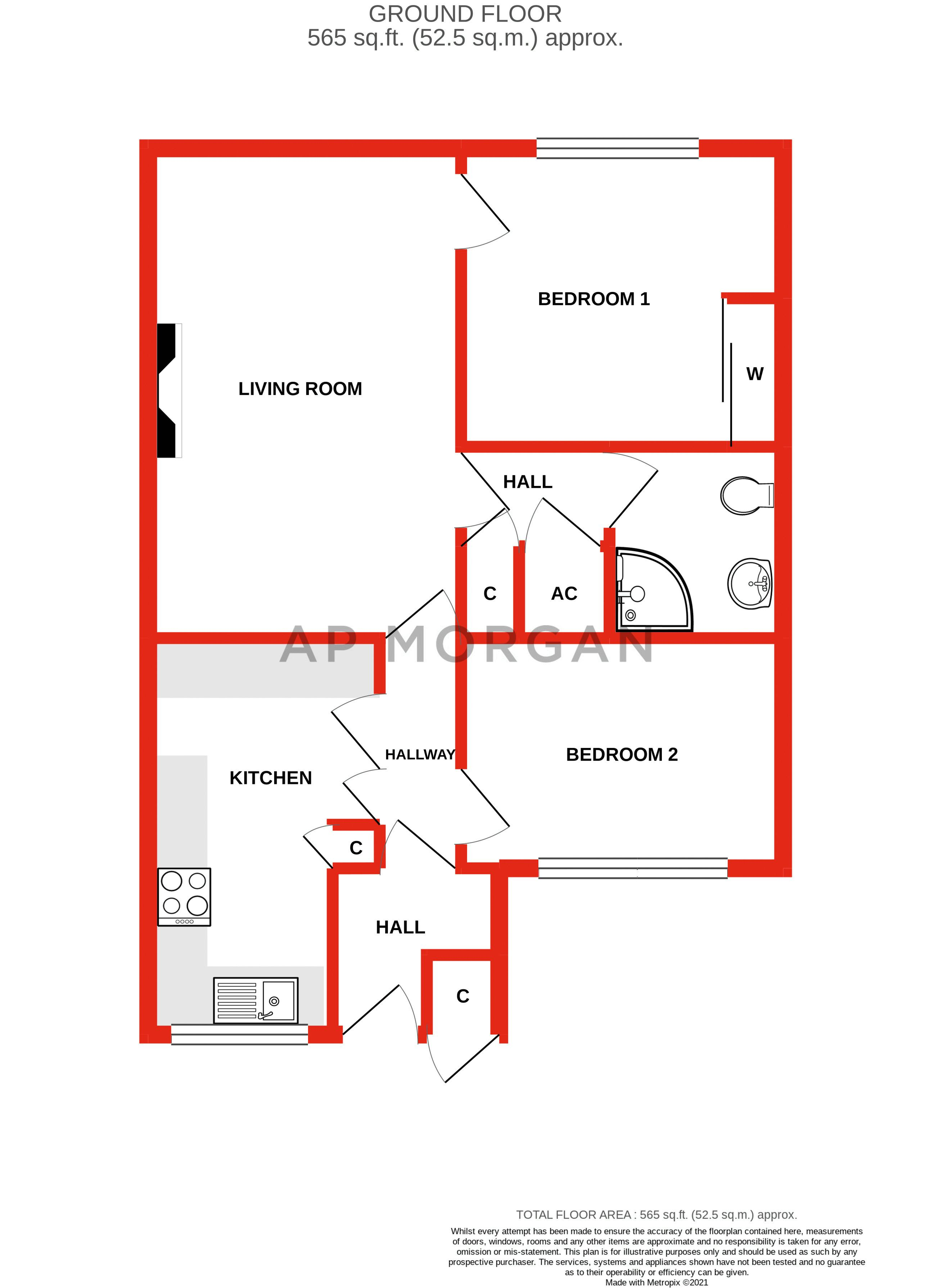 2 bed bungalow for sale in Stonehouse Close - Property Floorplan