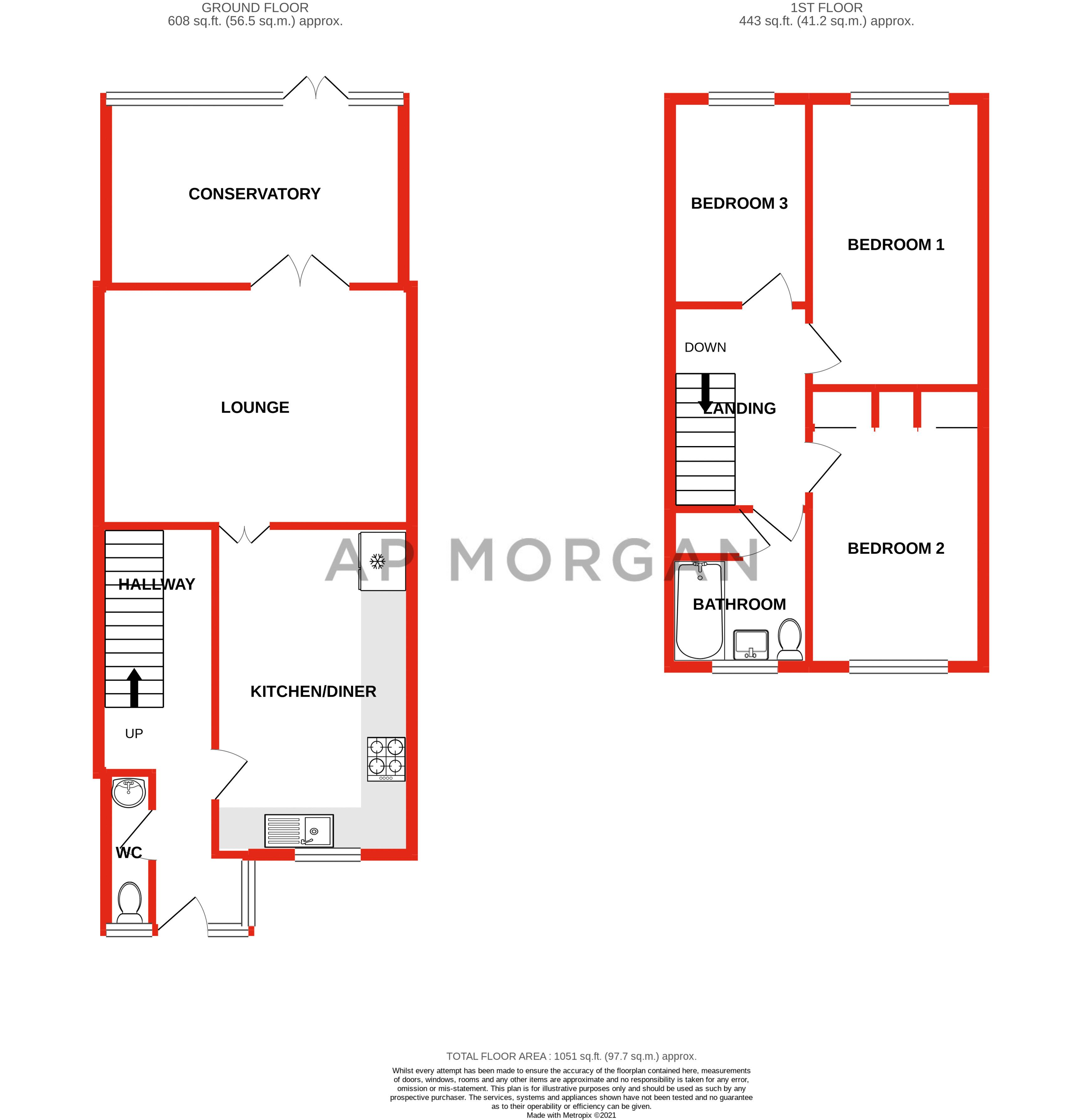 3 bed house for sale in Fountain Close - Property Floorplan