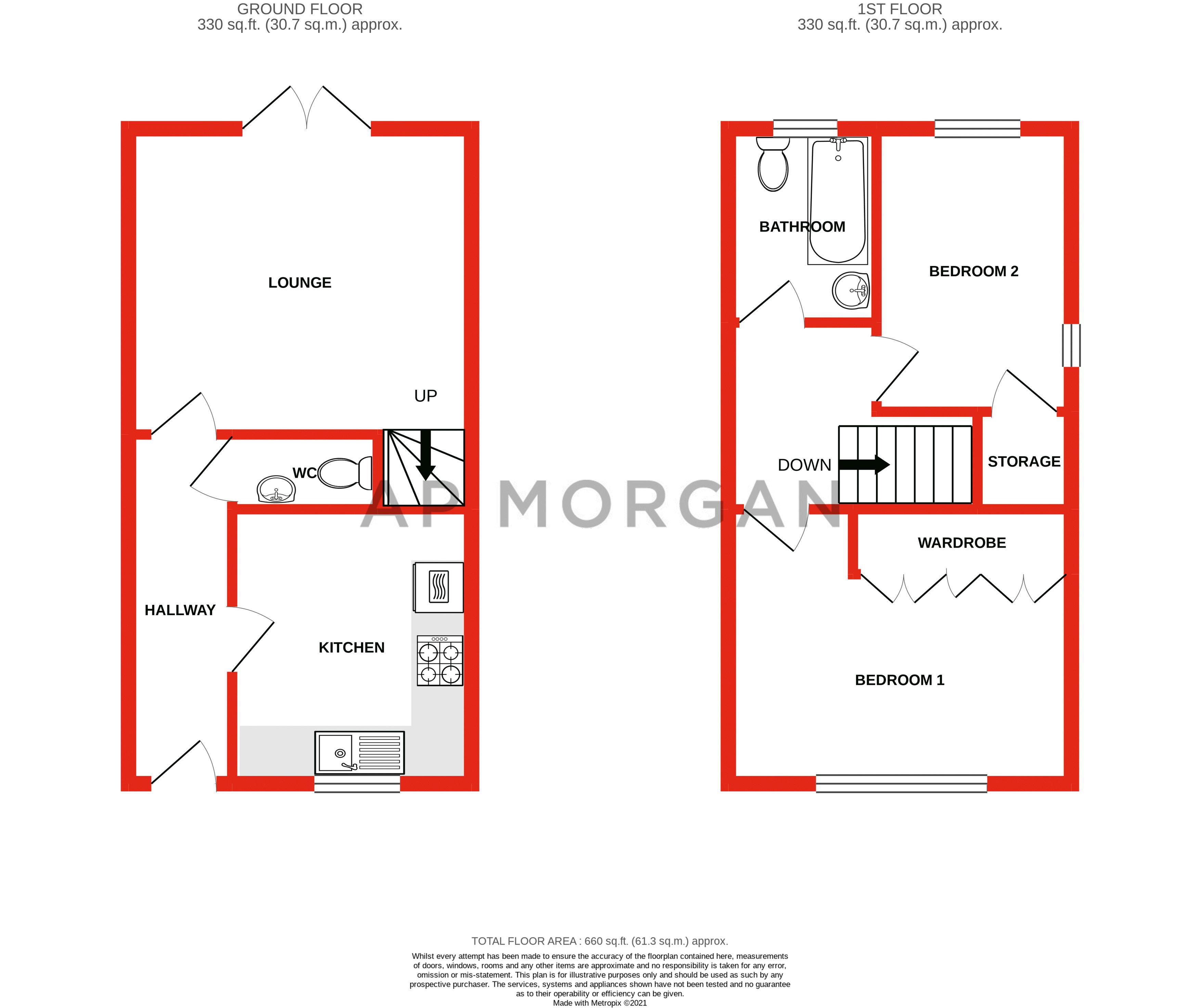 2 bed house for sale in Long Nuke Road - Property Floorplan