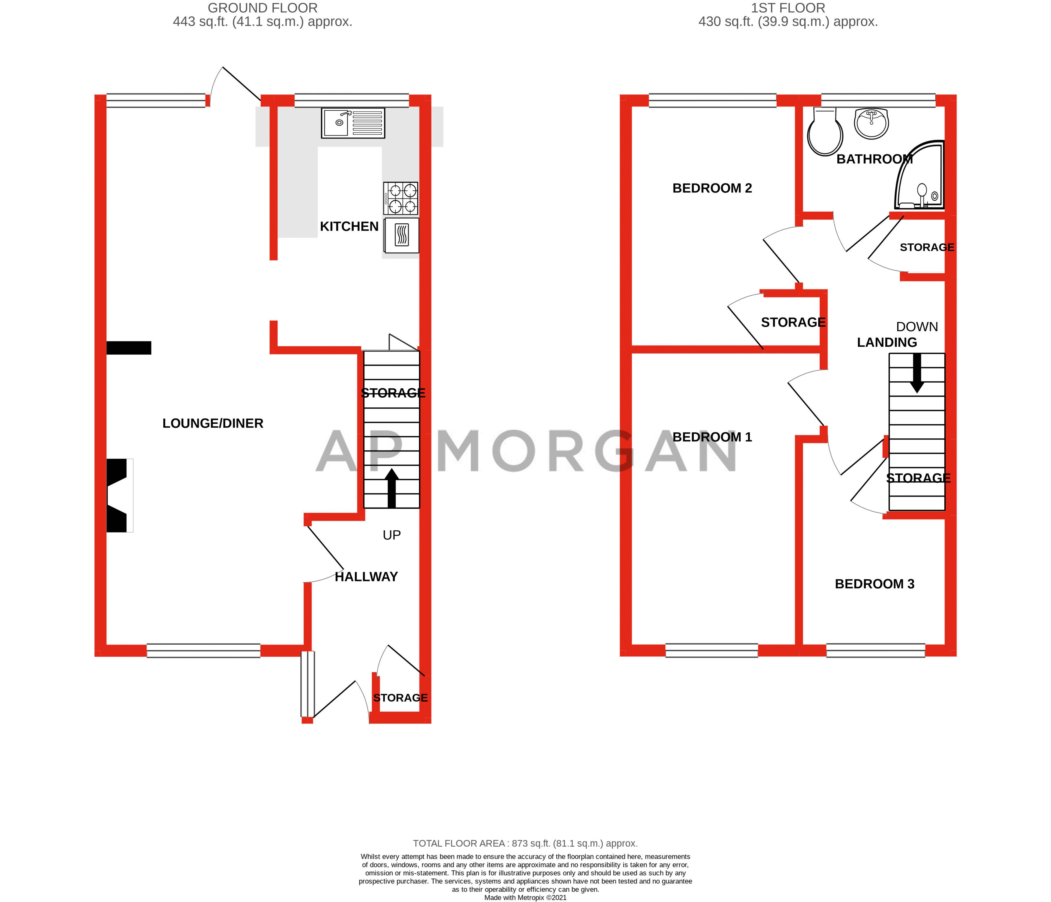 3 bed house for sale in Aire Croft - Property Floorplan