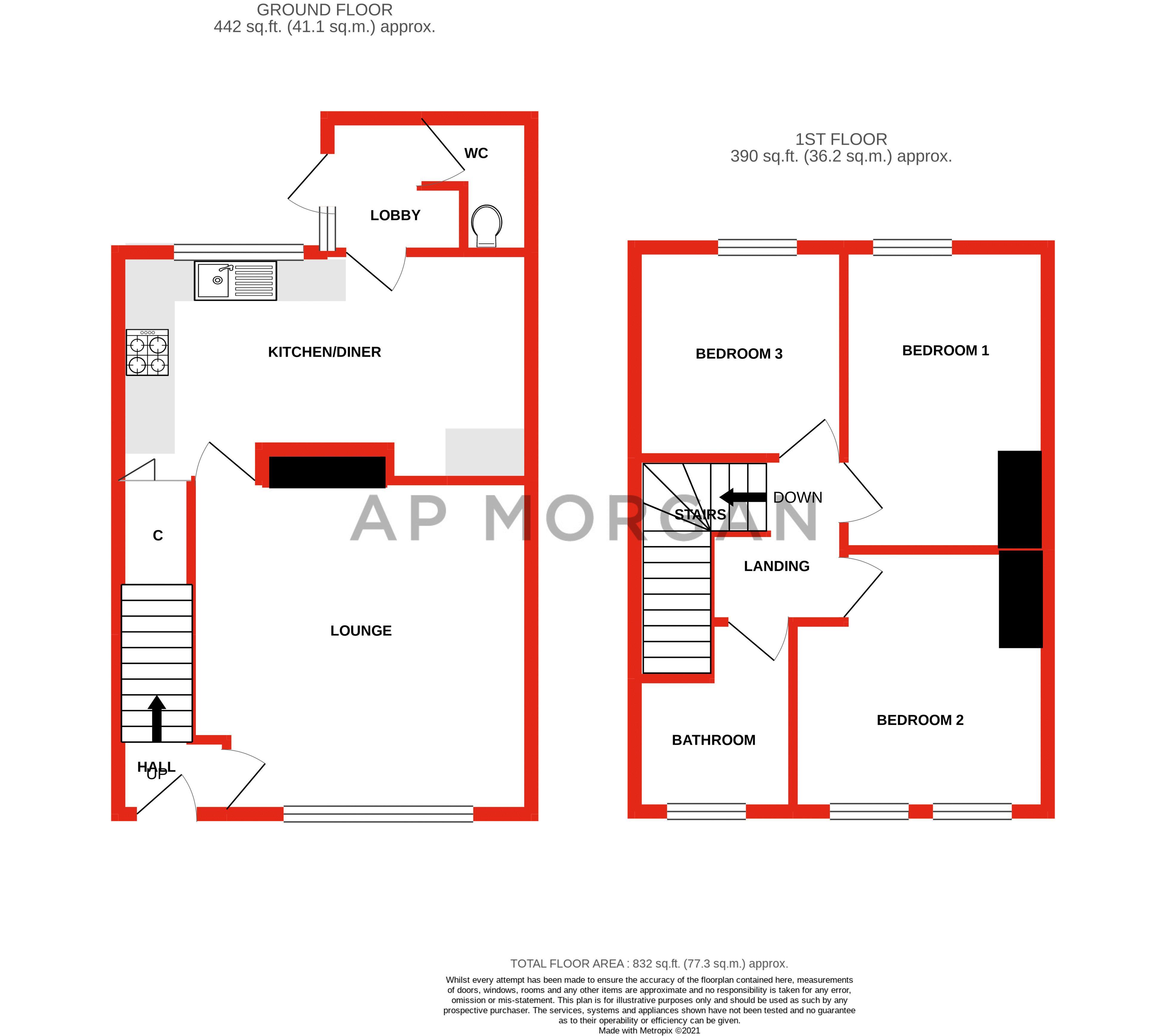 3 bed house for sale in Arthur Street - Property Floorplan