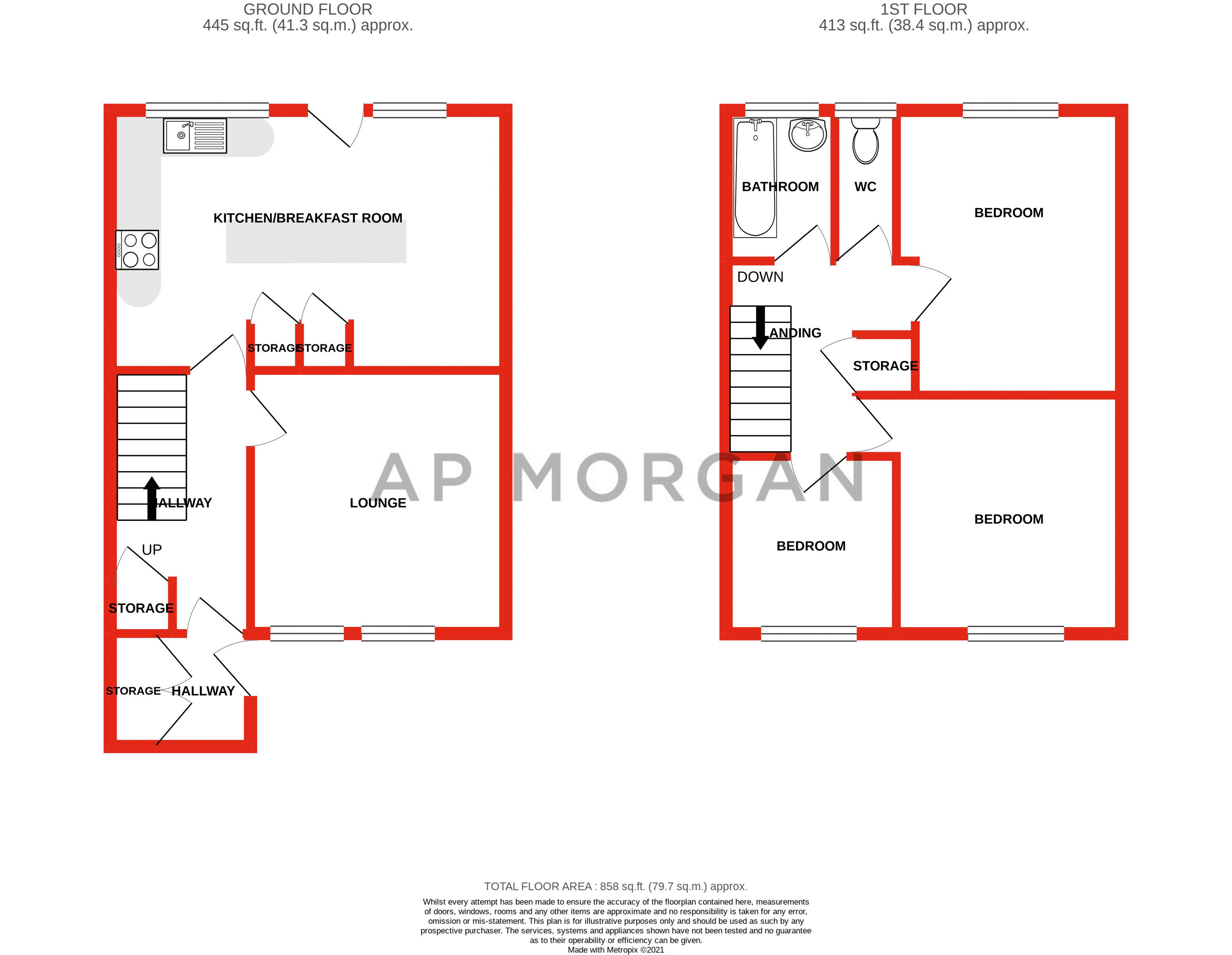 3 bed house for sale in Ashdown Close - Property Floorplan