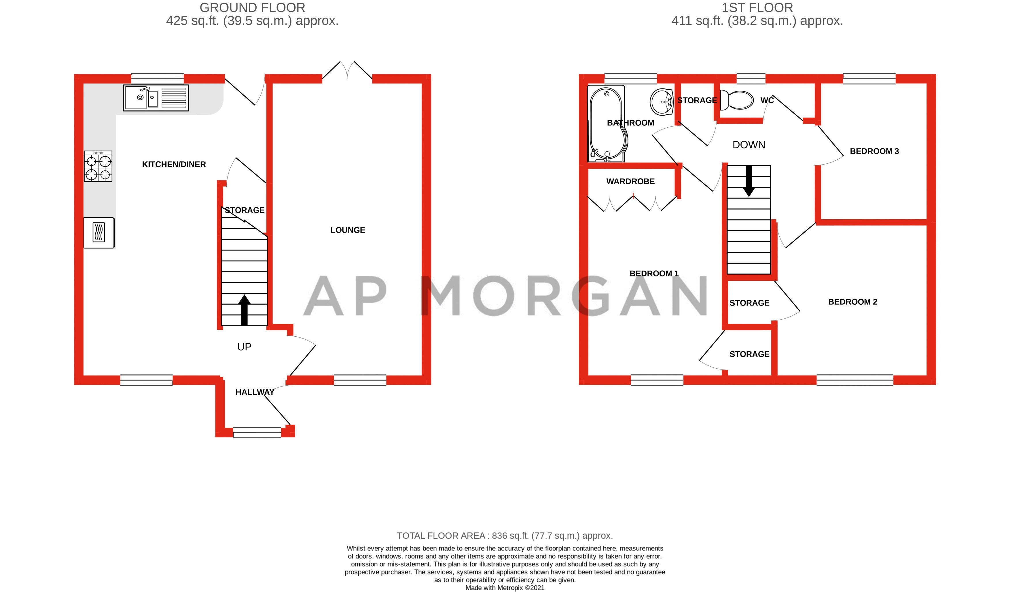 3 bed house for sale in The Roundabout - Property Floorplan