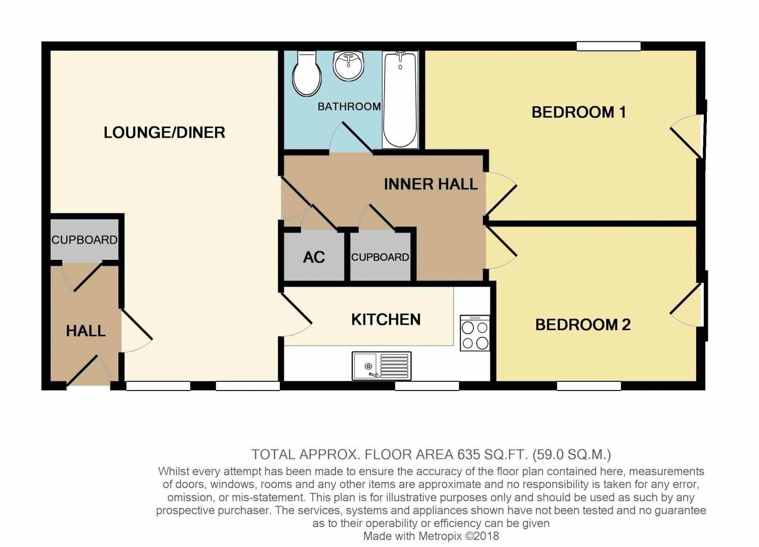 2 bed flat for sale in Exmoor Drive - Property Floorplan
