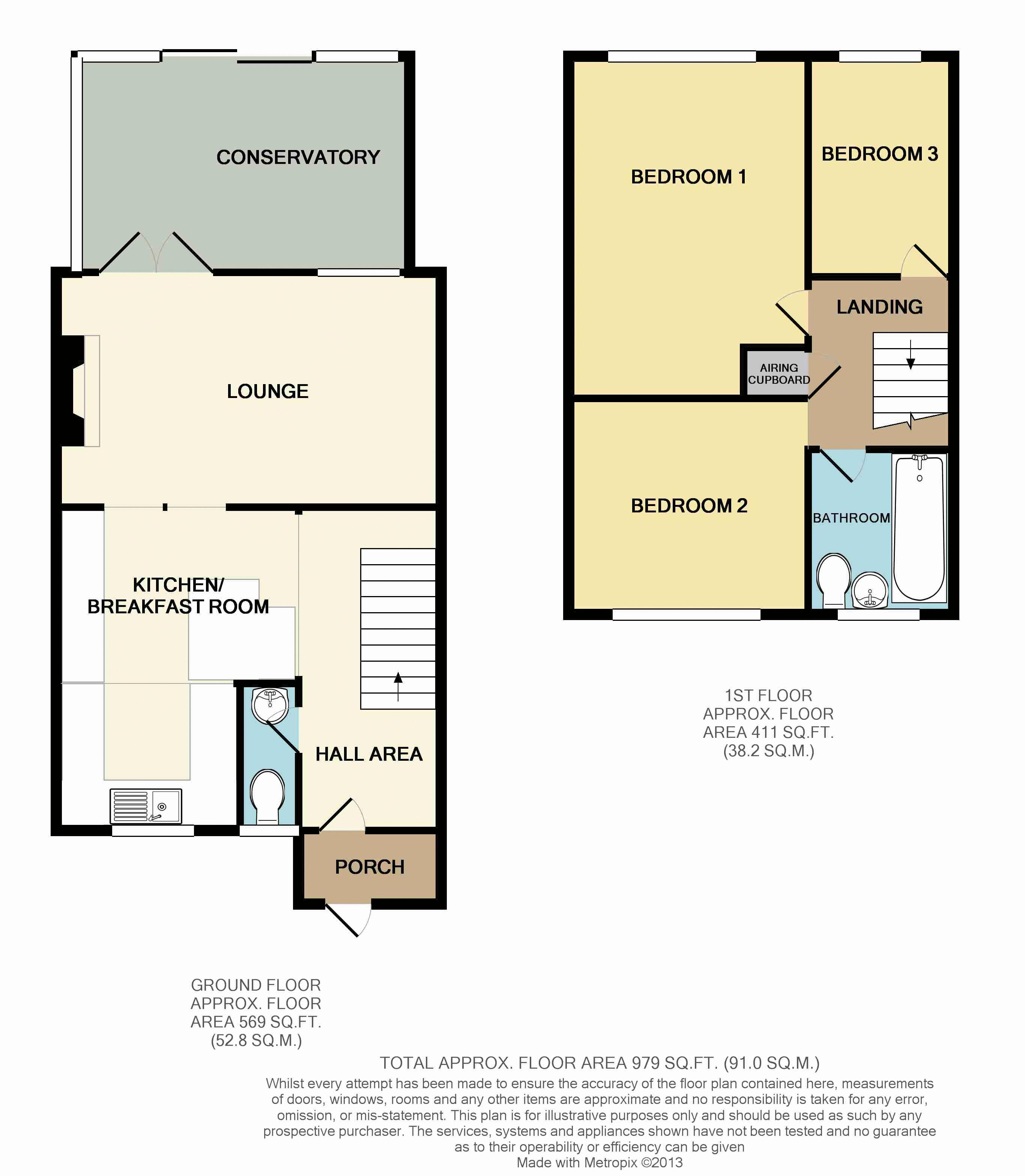 3 bed house to rent in Ombersley Close - Property Floorplan