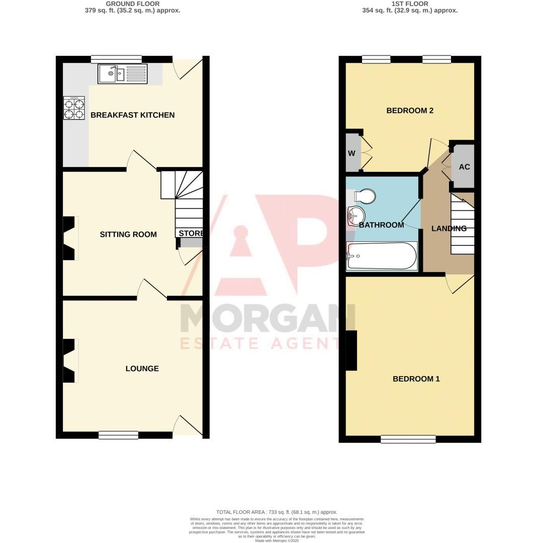 2 bed house for sale in Orchard Road - Property Floorplan