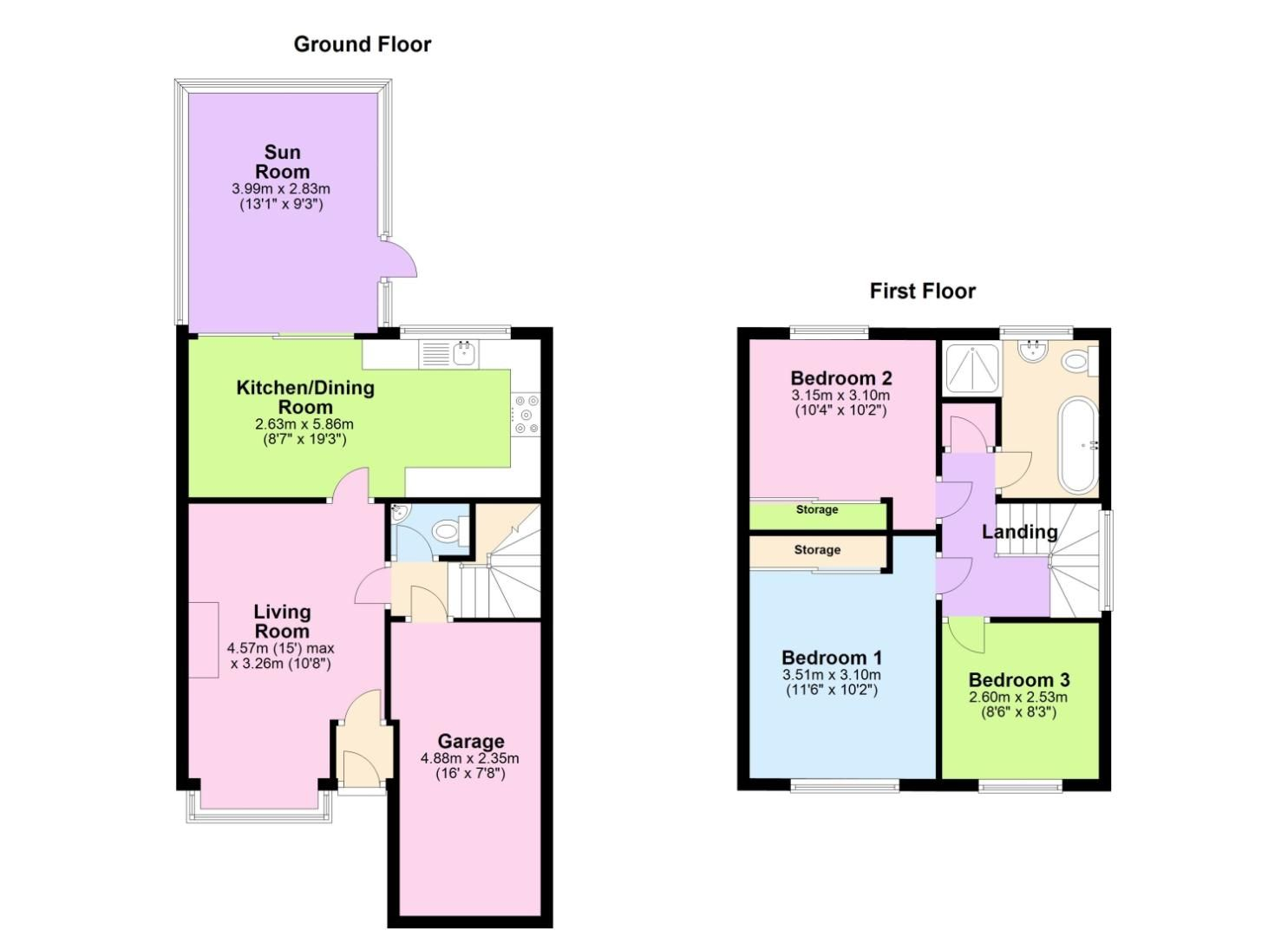 3 bed detached for sale in Foxes Close, Blackwell, B60 - Property Floorplan