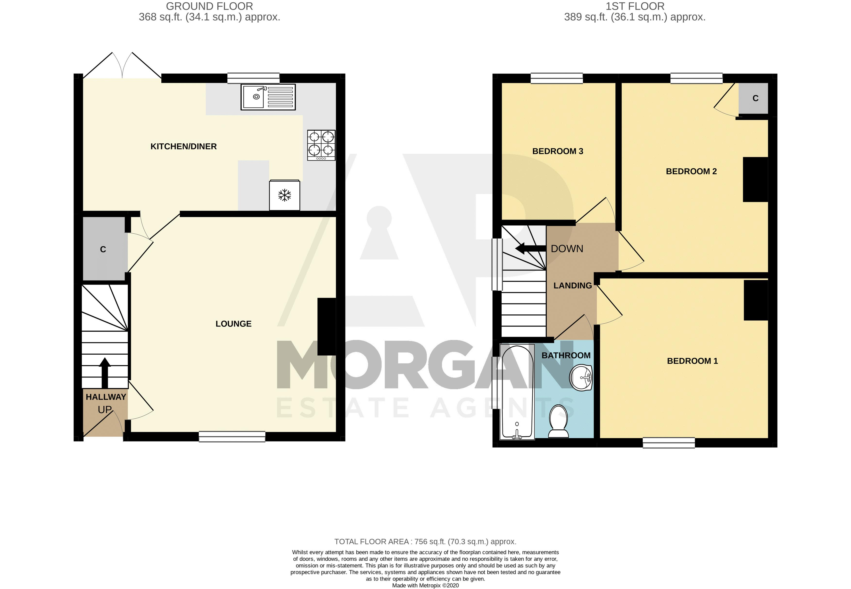 3 bed house for sale in Parsons Road - Property Floorplan