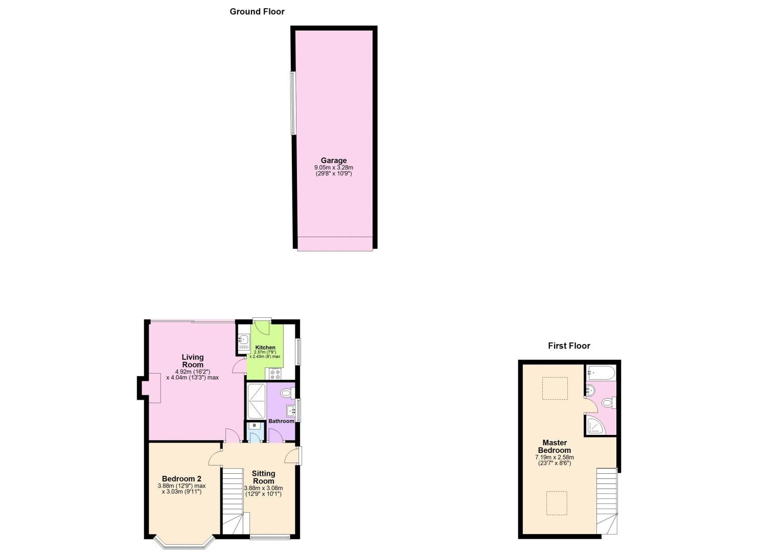 2 bed house for sale in Brueton Avenue - Property Floorplan