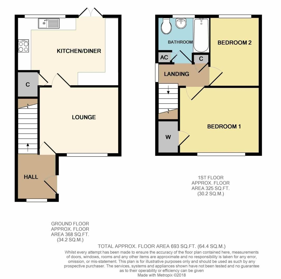 2 bed house for sale in Vallet Avenue - Property Floorplan