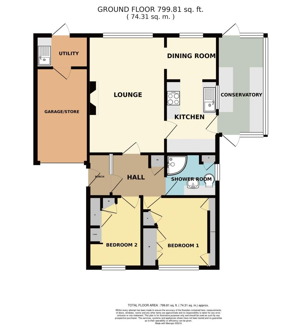 2 bed bungalow for sale in St. Peters Close - Property Floorplan