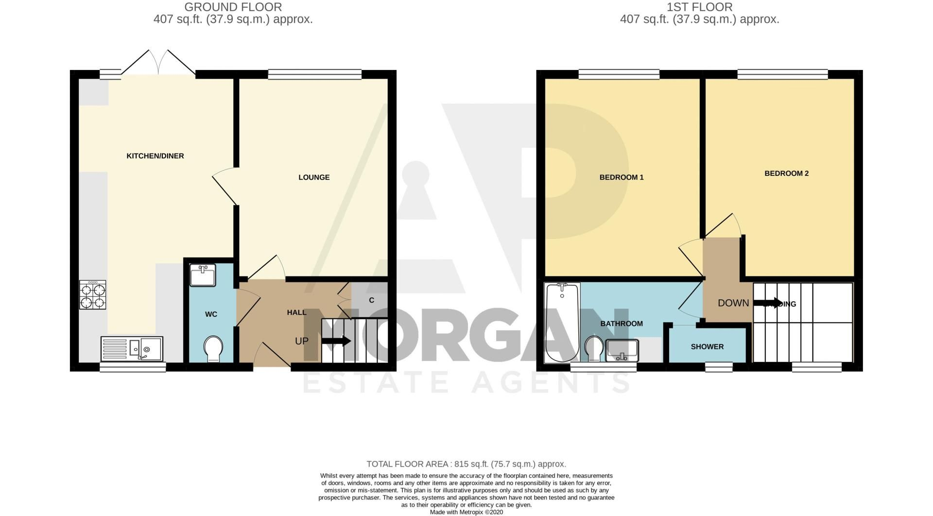 2 bed house for sale in Felton Close - Property Floorplan