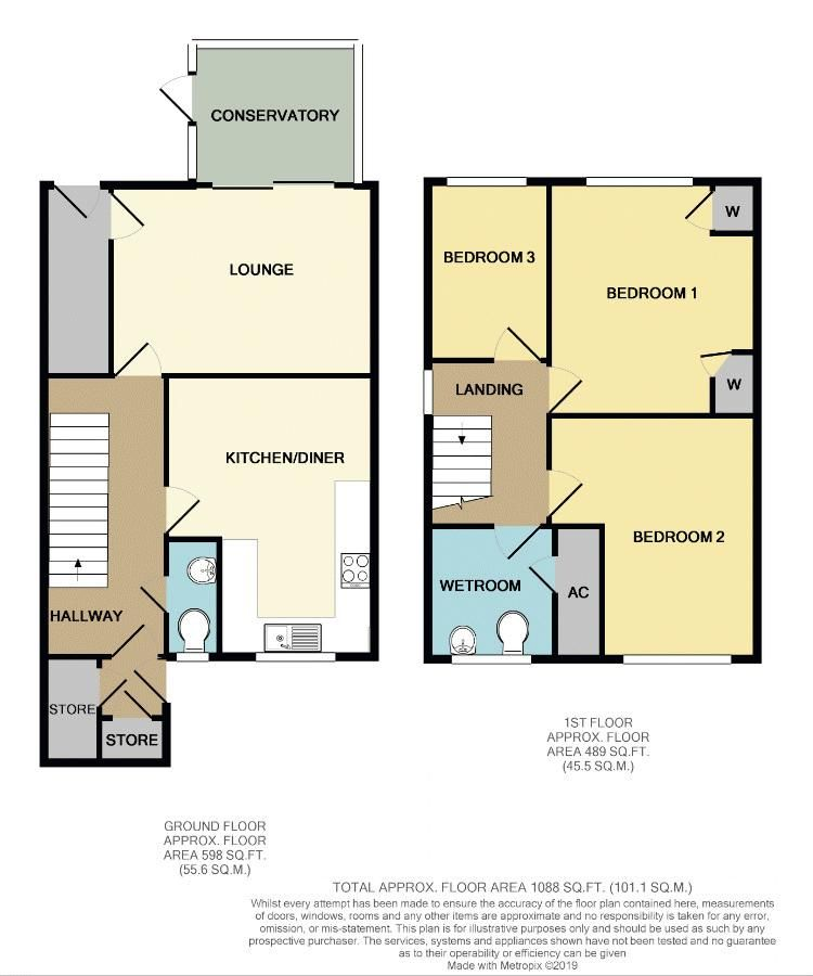 3 bed house for sale in Exhall Close - Property Floorplan