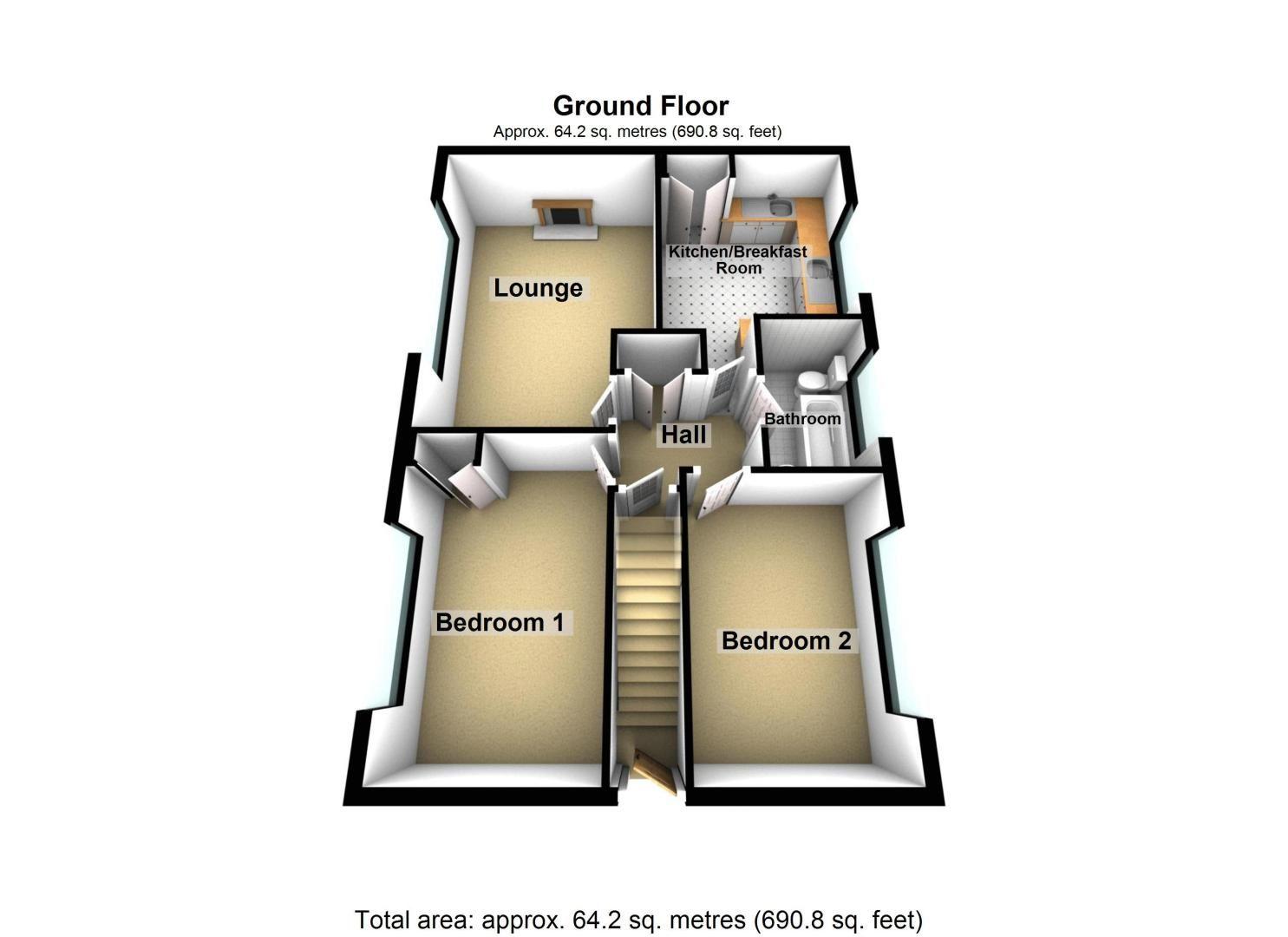 2 bed flat for sale in Dobbins Oak Road - Property Floorplan