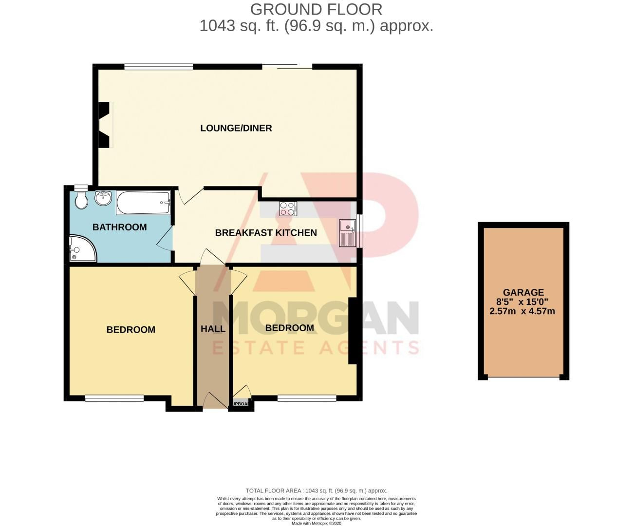 2 bed bungalow for sale in Worcester Road - Property Floorplan