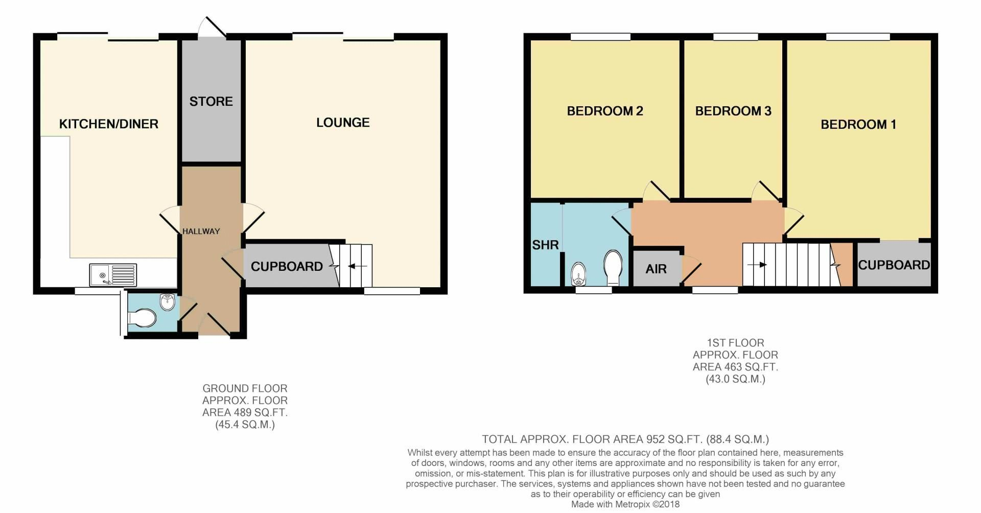 3 bed house for sale in Kineton Close - Property Floorplan