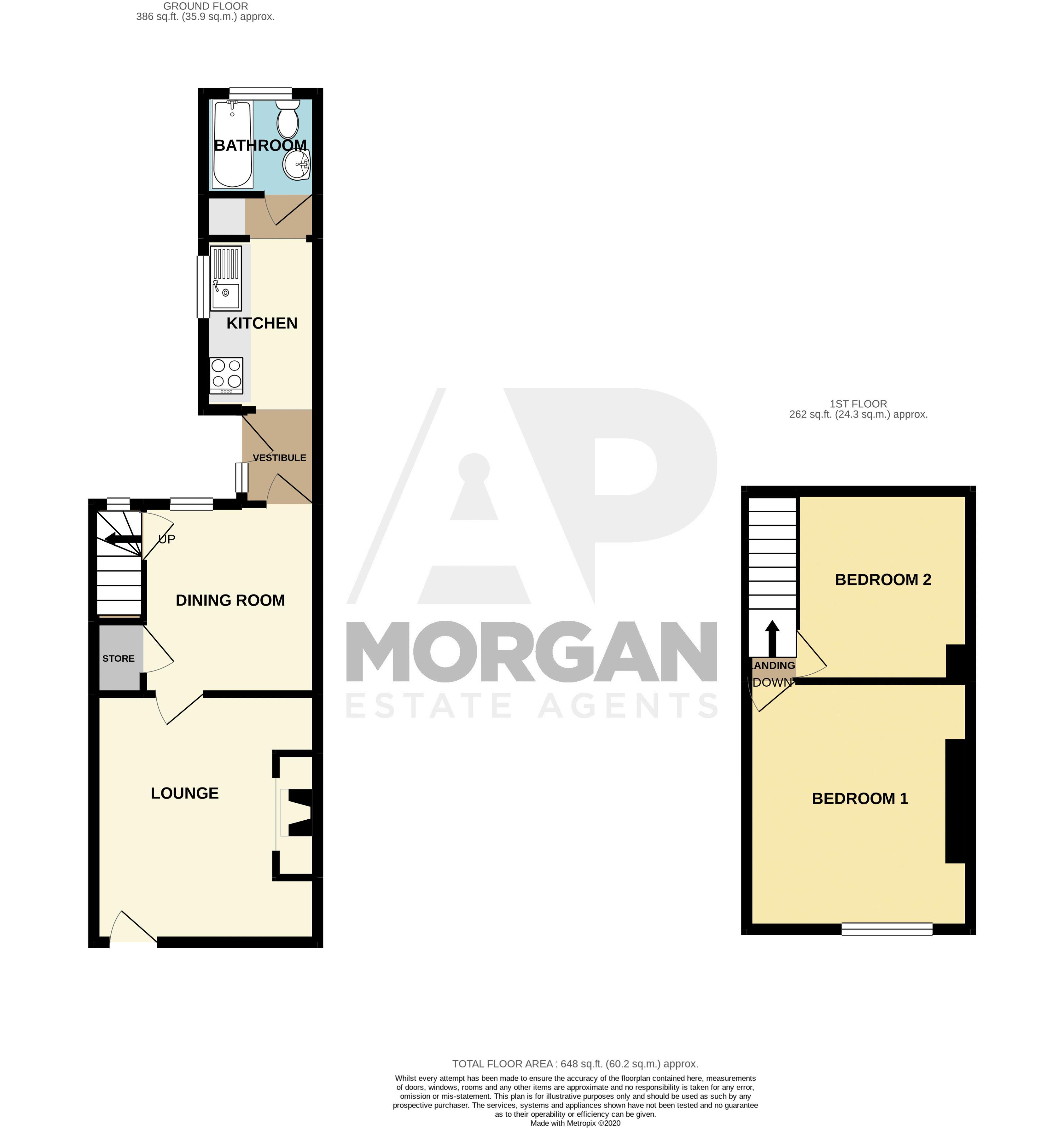 2 bed house for sale in Bowling Green Road - Property Floorplan