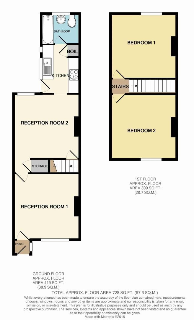 2 bed house for sale in Evesham Road - Property Floorplan