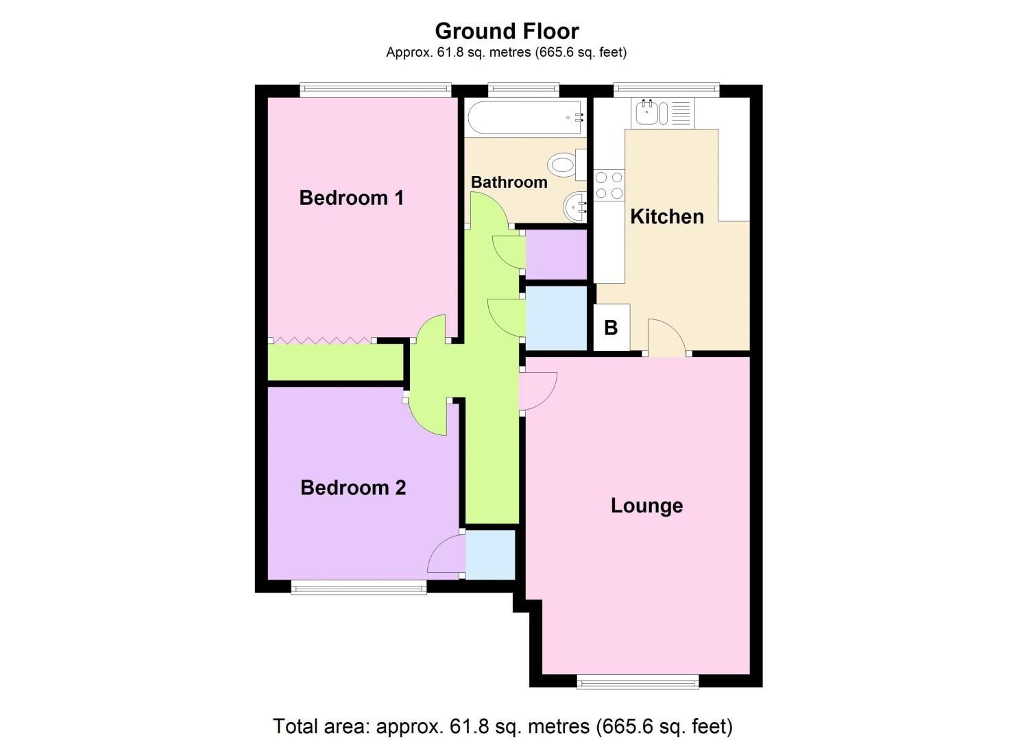 2 bed flat for sale in Oakhill Drive - Property Floorplan