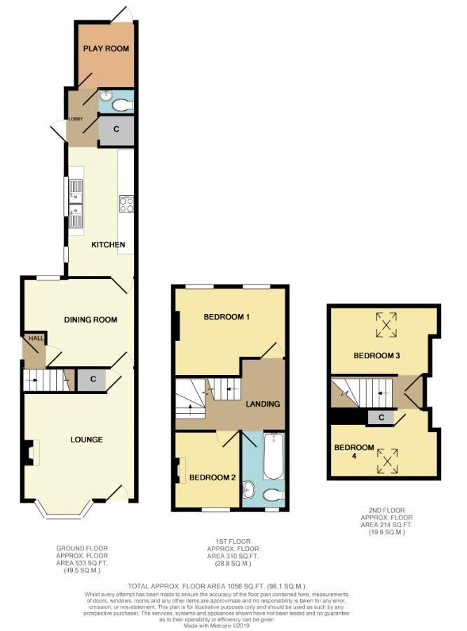 4 bed house for sale in Thorns Road - Property Floorplan