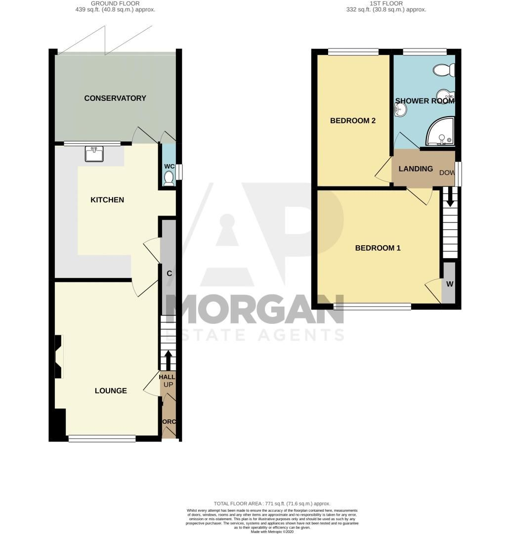 2 bed house for sale in Thorns Road - Property Floorplan