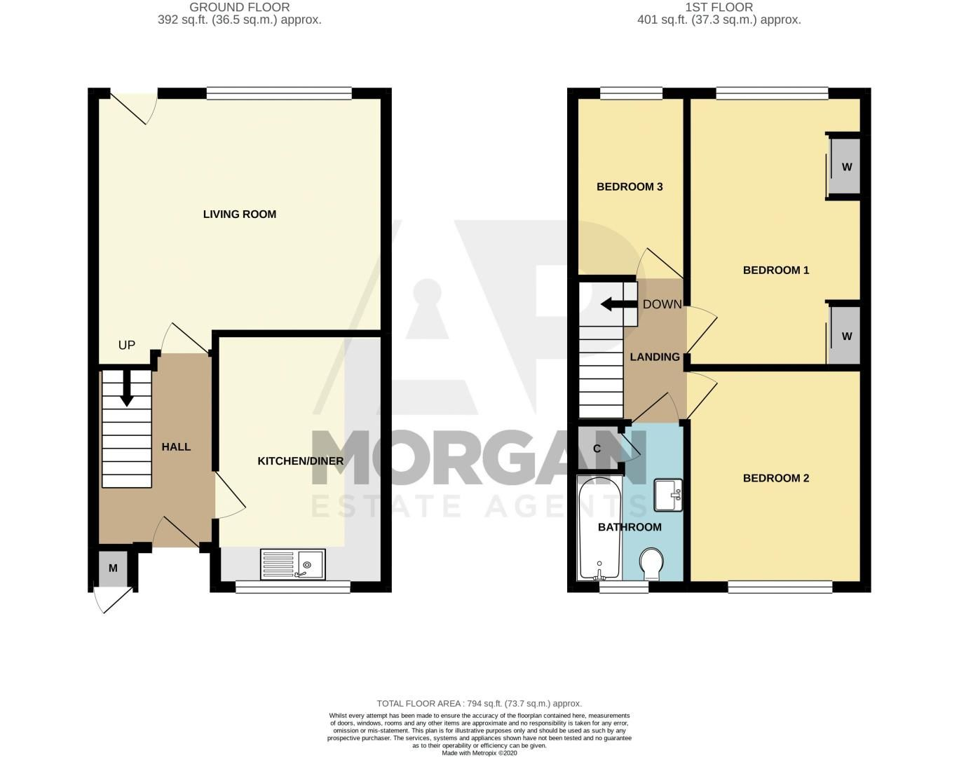3 bed house for sale in Greenside - Property Floorplan