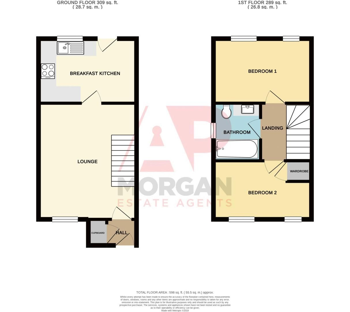 2 bed house for sale in Ensall Drive - Property Floorplan