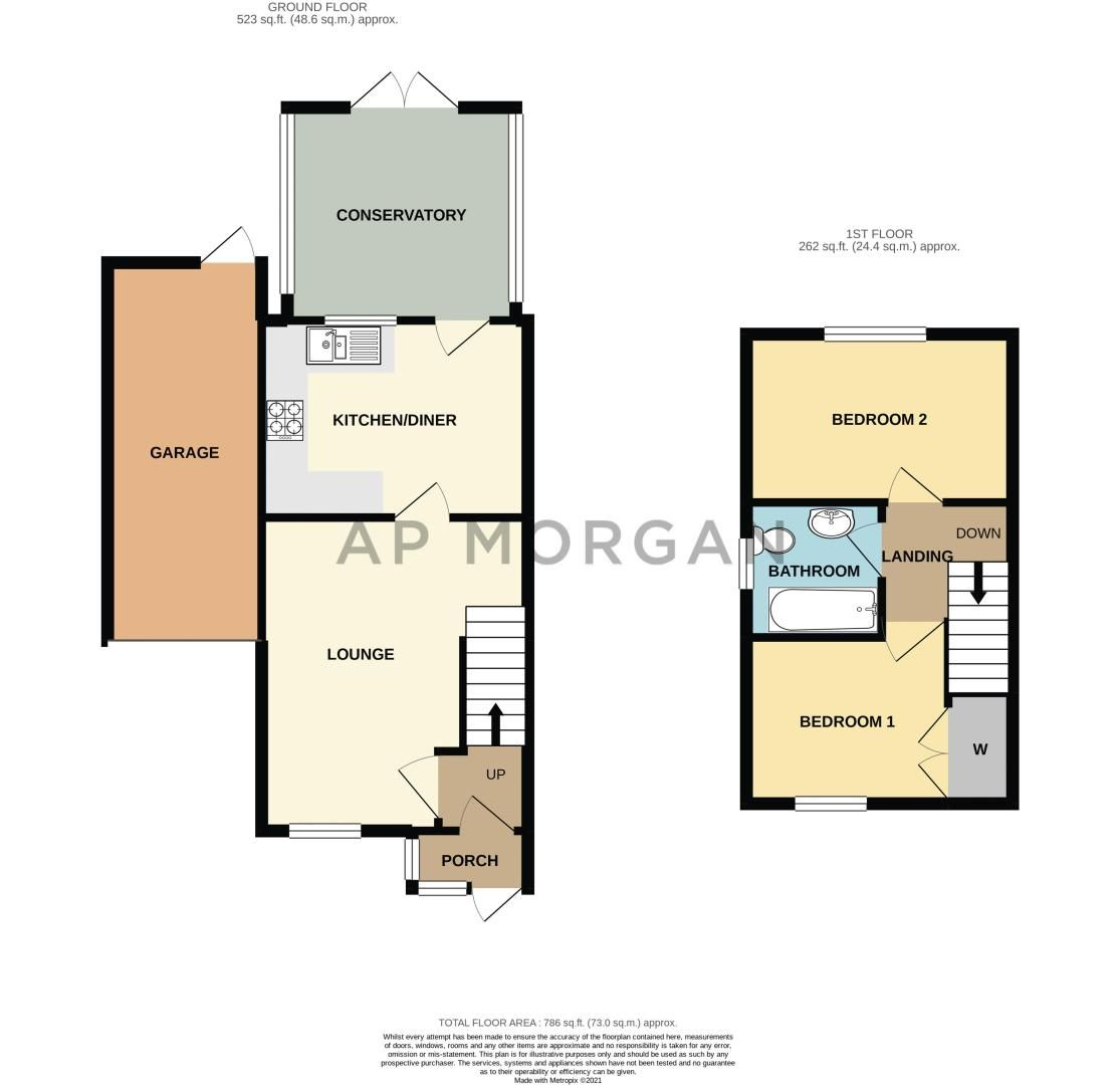 2 bed house for sale in Appletree Lane - Property Floorplan