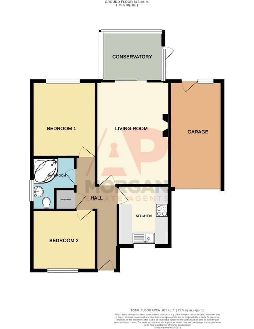 2 bed bungalow for sale in The Brambles - Property Floorplan