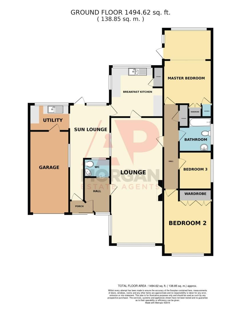 3 bed bungalow for sale in Love Lane - Property Floorplan