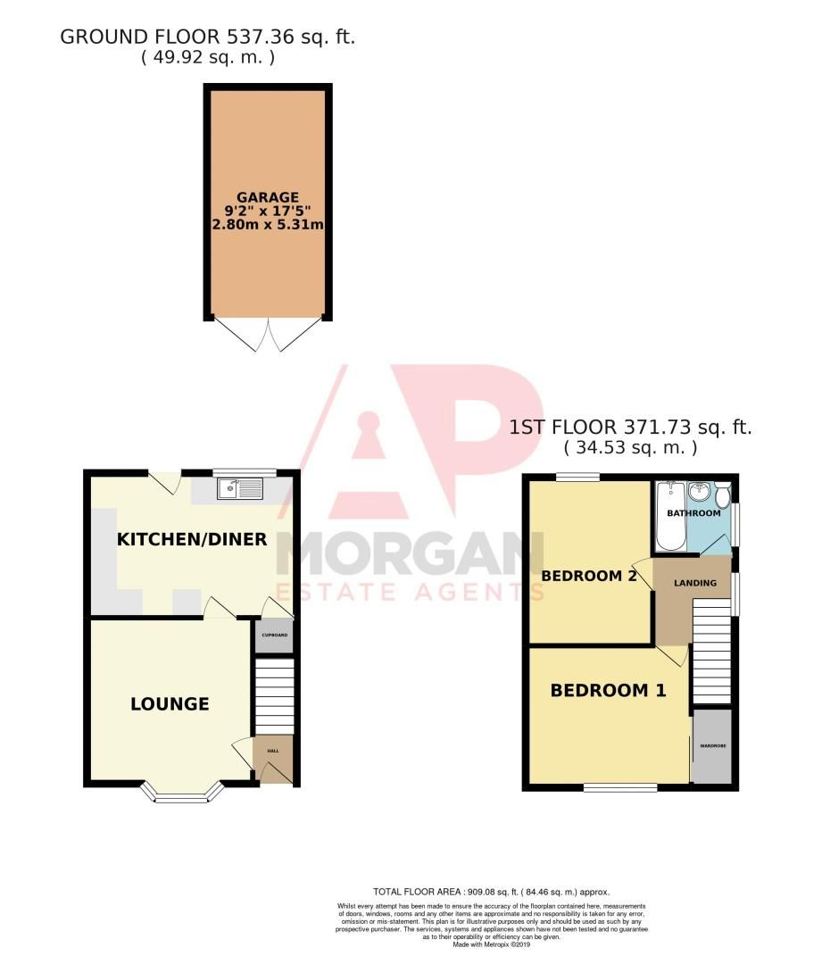 2 bed house for sale in Throckmorton Road - Property Floorplan