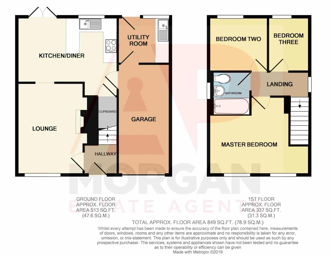 3 bed house for sale in Bascote Close - Property Floorplan