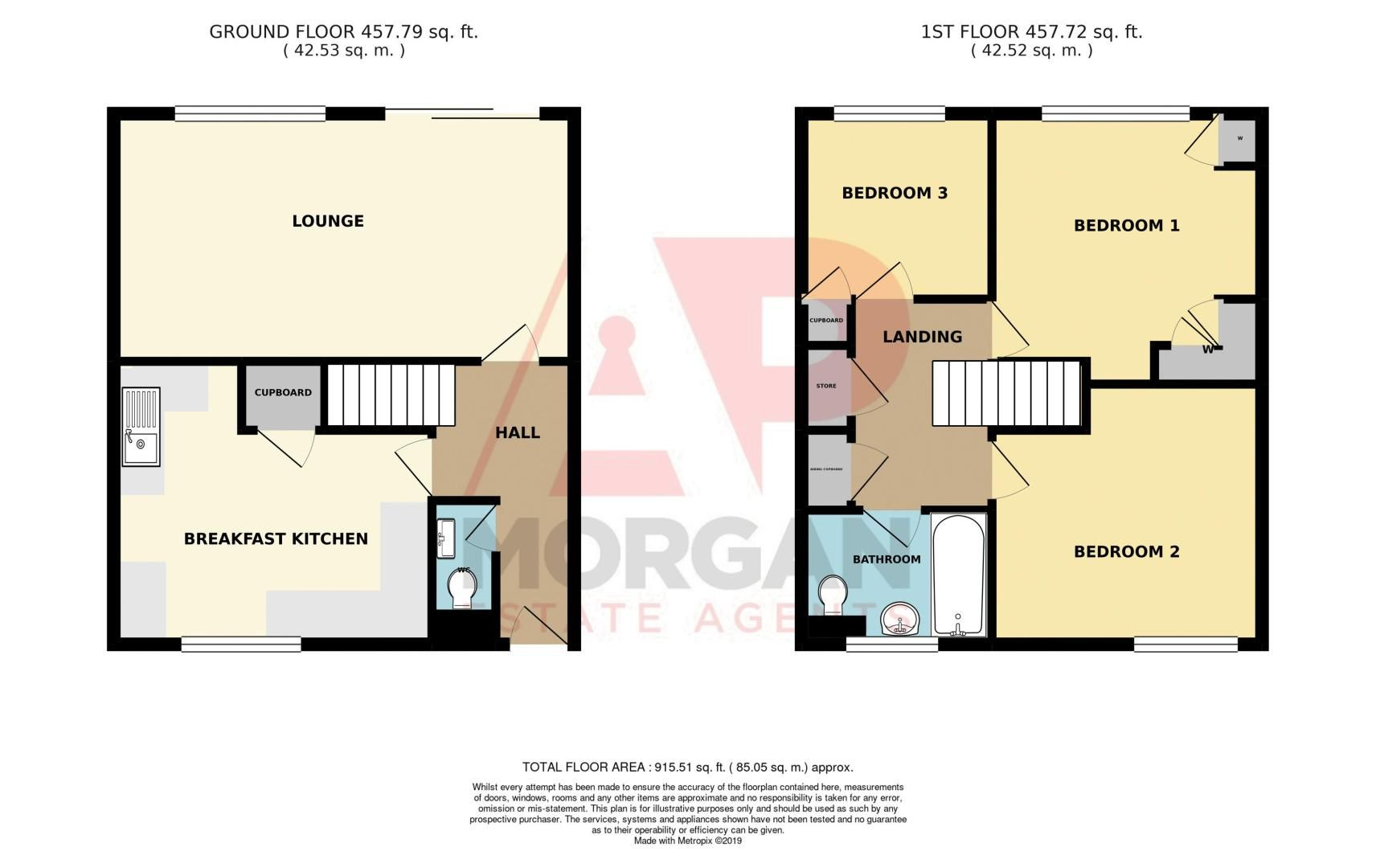 3 bed house for sale in Doverdale Close - Property Floorplan
