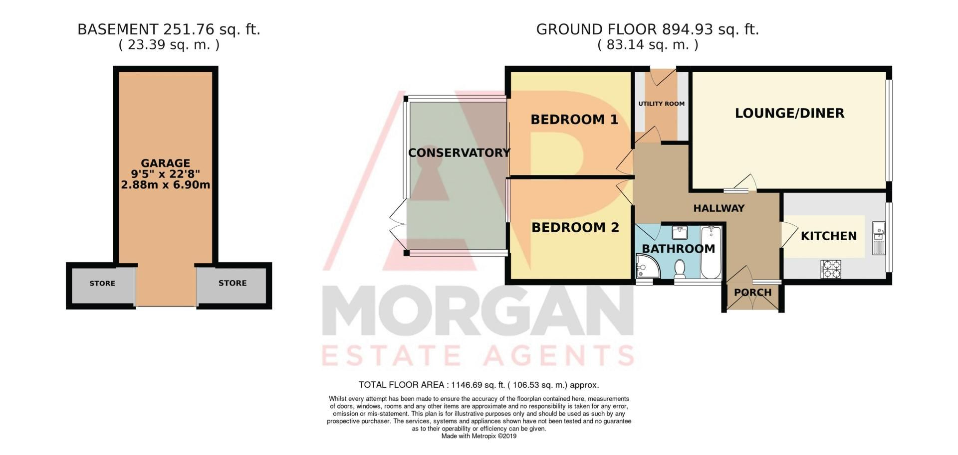 2 bed bungalow for sale in Lodgefield Road - Property Floorplan
