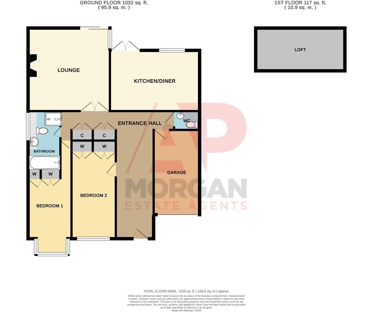 2 bed bungalow for sale in Dark Lane - Property Floorplan