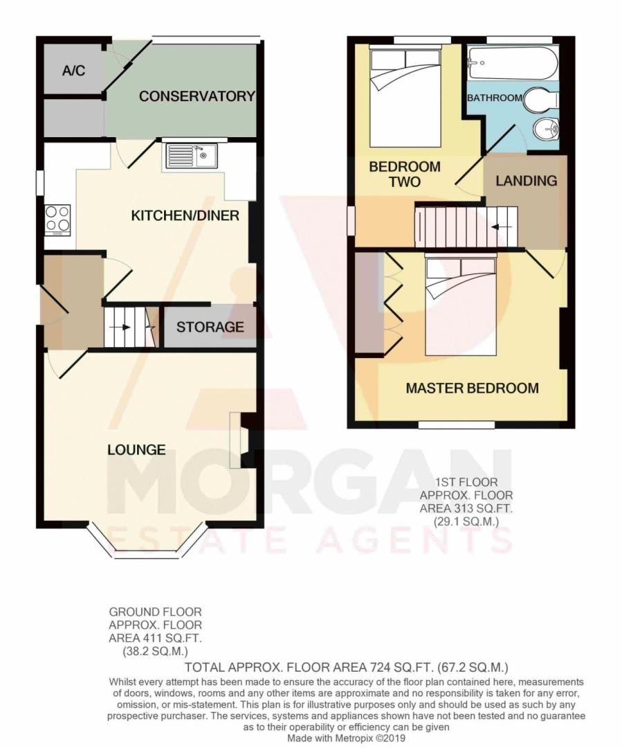 2 bed house for sale in The Meadway - Property Floorplan
