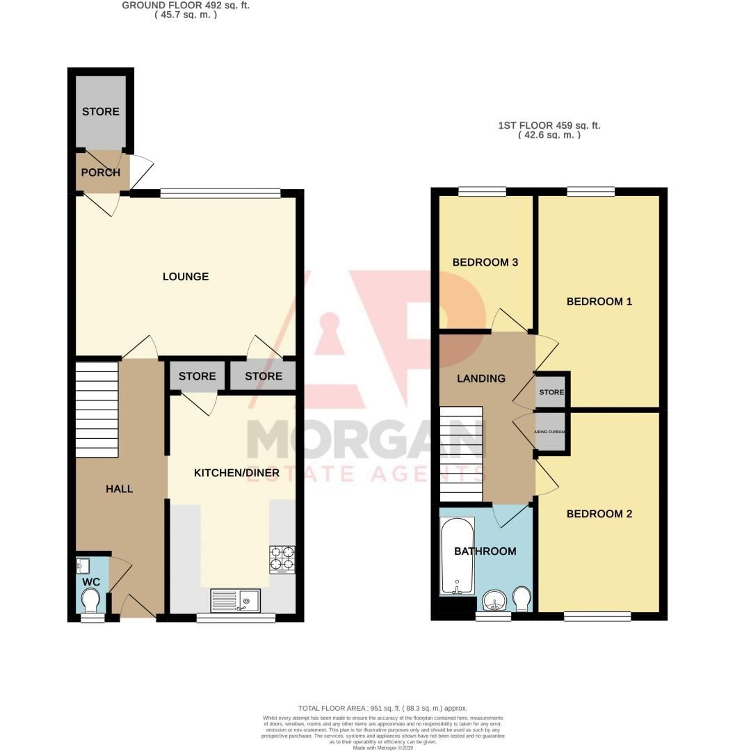 3 bed house for sale in Fordbridge Close - Property Floorplan