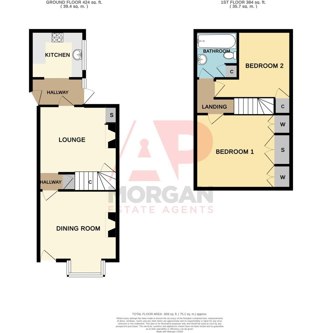 2 bed house for sale in Banners Street - Property Floorplan