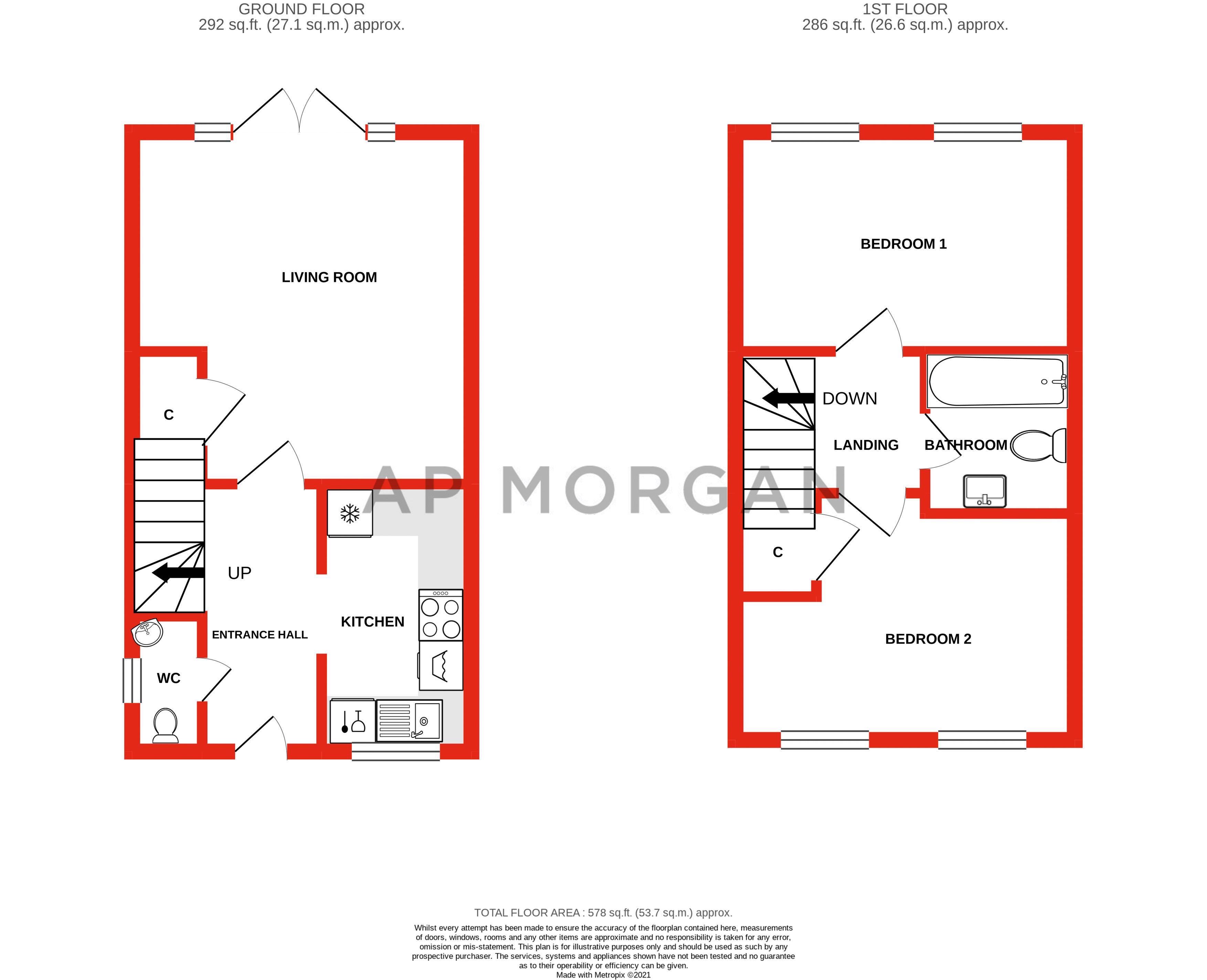 2 bed house for sale in Ivyleaf Close - Property Floorplan