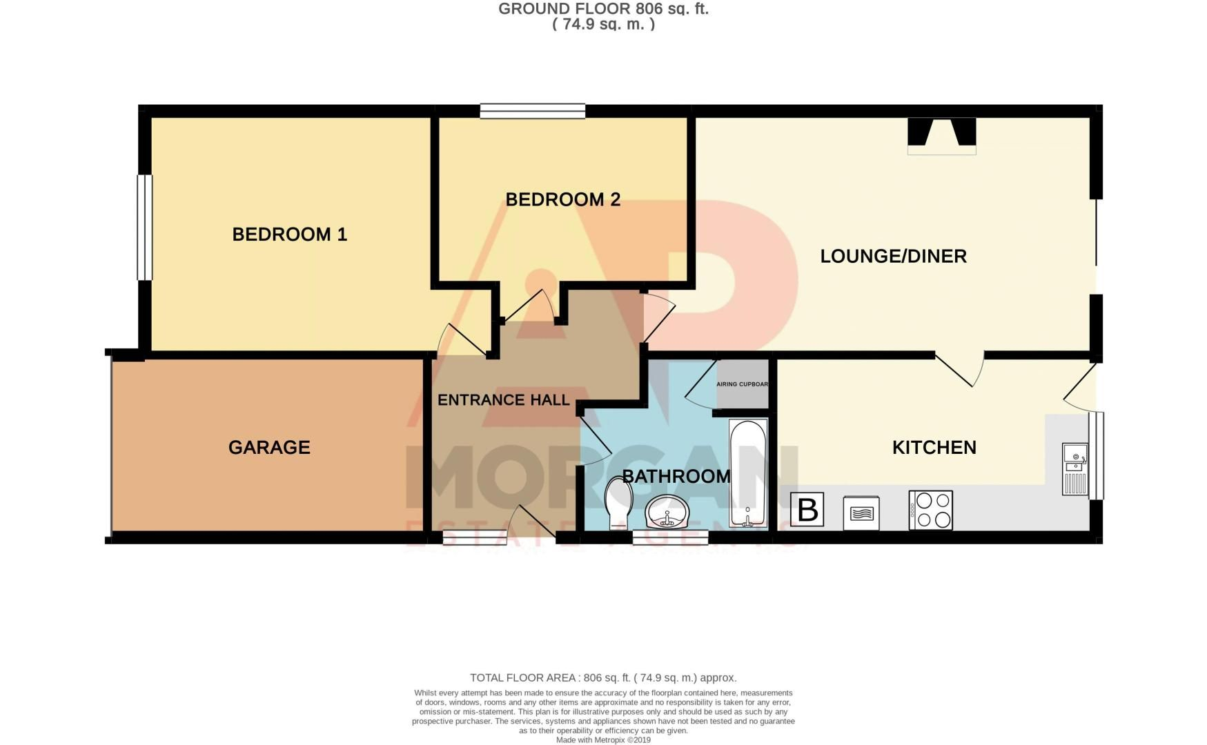 2 bed bungalow for sale in Hawes Lane - Property Floorplan