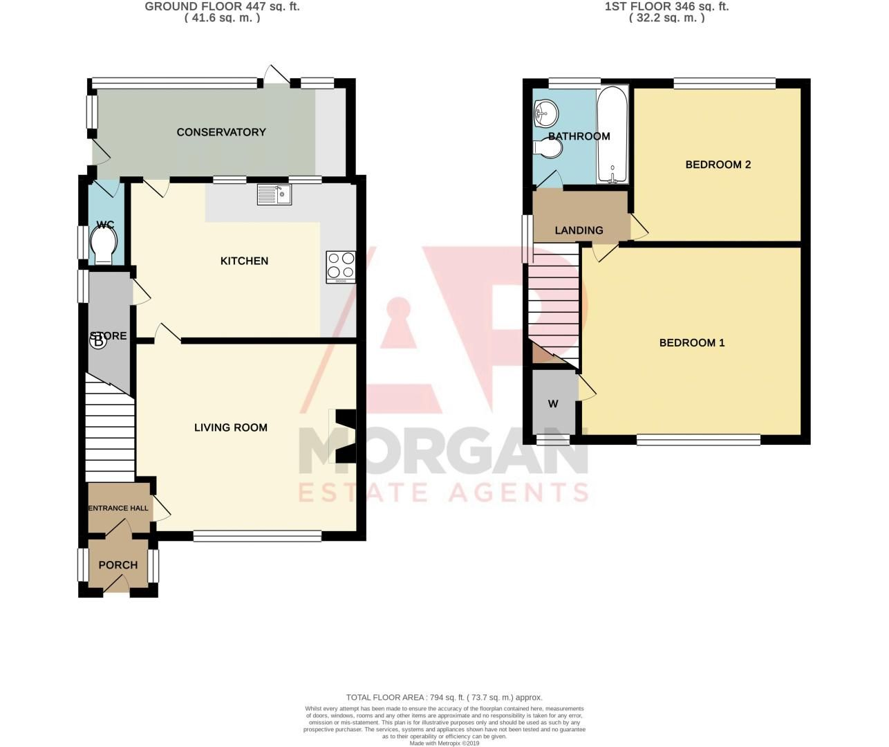 2 bed house for sale in Ridgefield Road - Property Floorplan