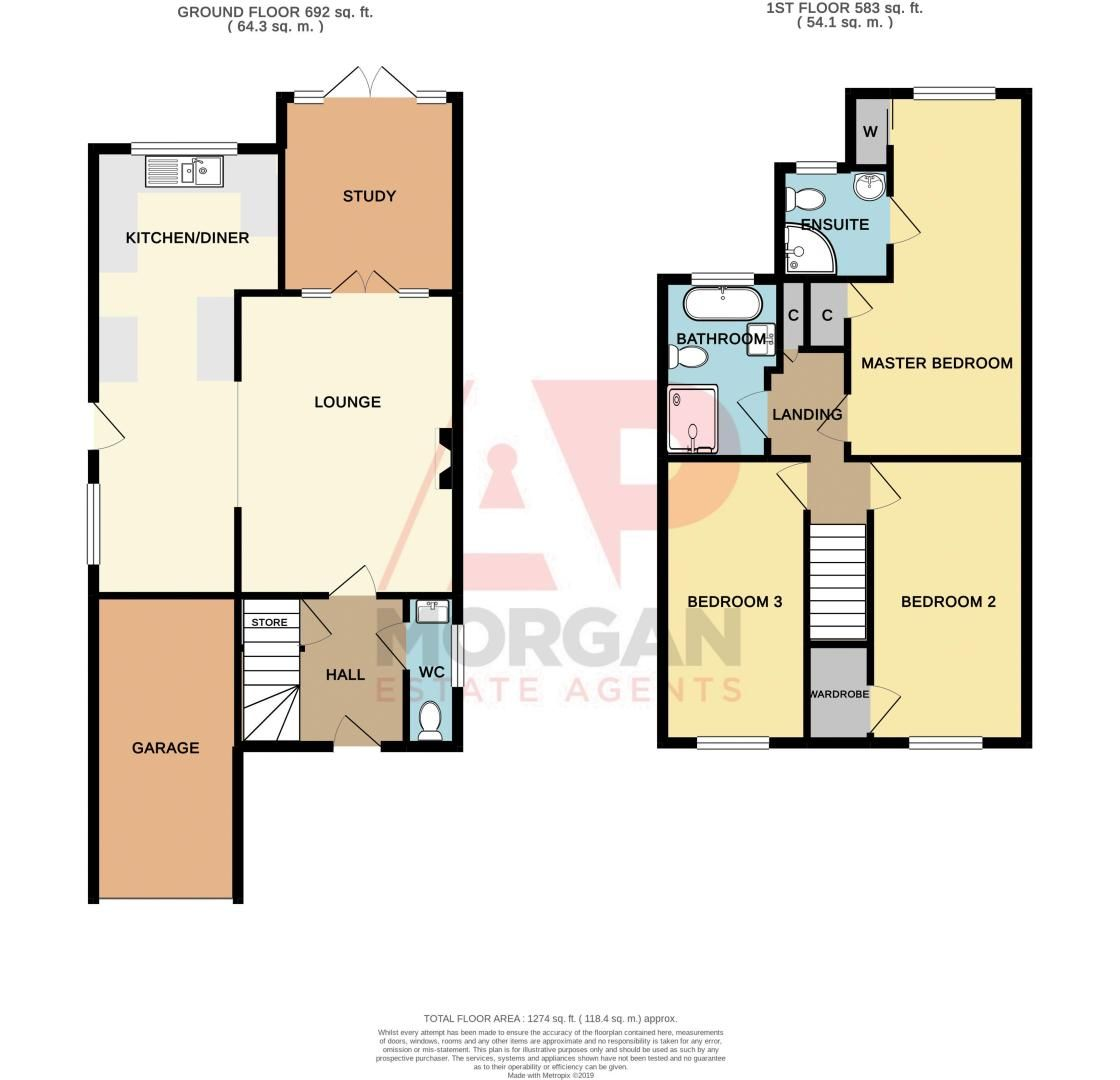 3 bed house for sale in Fernleigh Gardens - Property Floorplan
