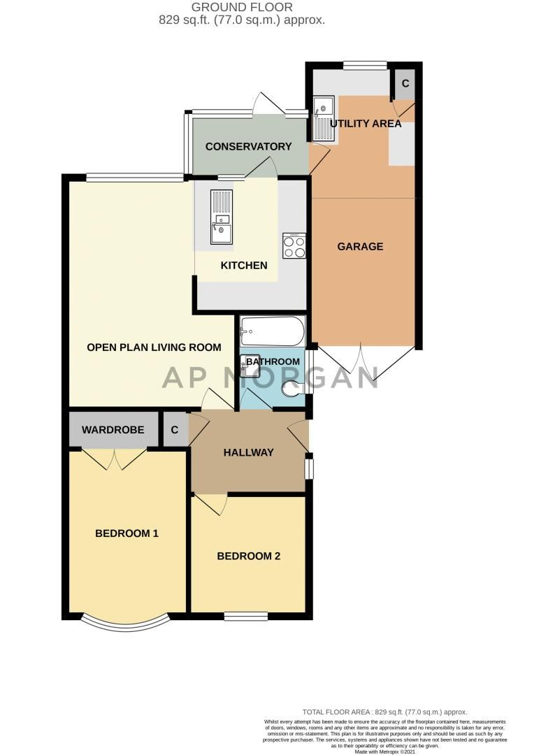 2 bed bungalow for sale in Waterfall Road - Property Floorplan