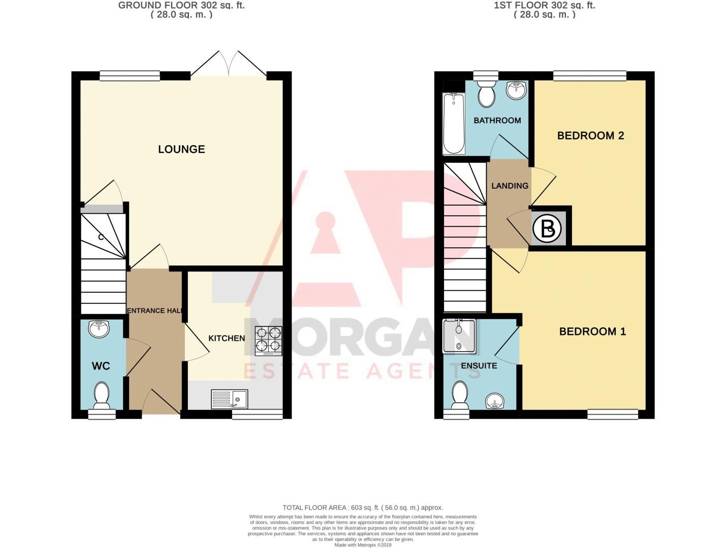 2 bed house for sale in Roundhills Road - Property Floorplan
