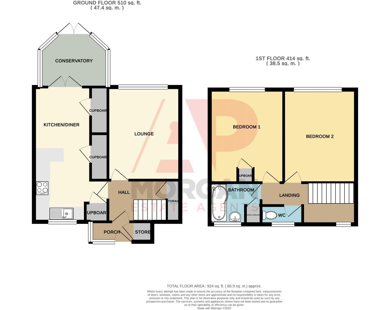 2 bed house for sale in Garway Close - Property Floorplan