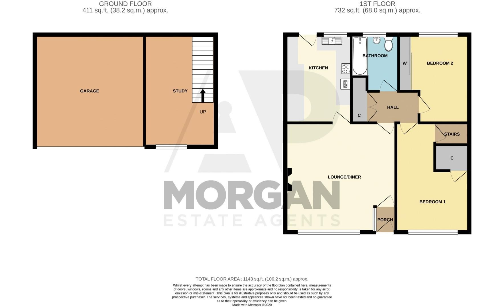 2 bed house for sale in Doctors Hill - Property Floorplan