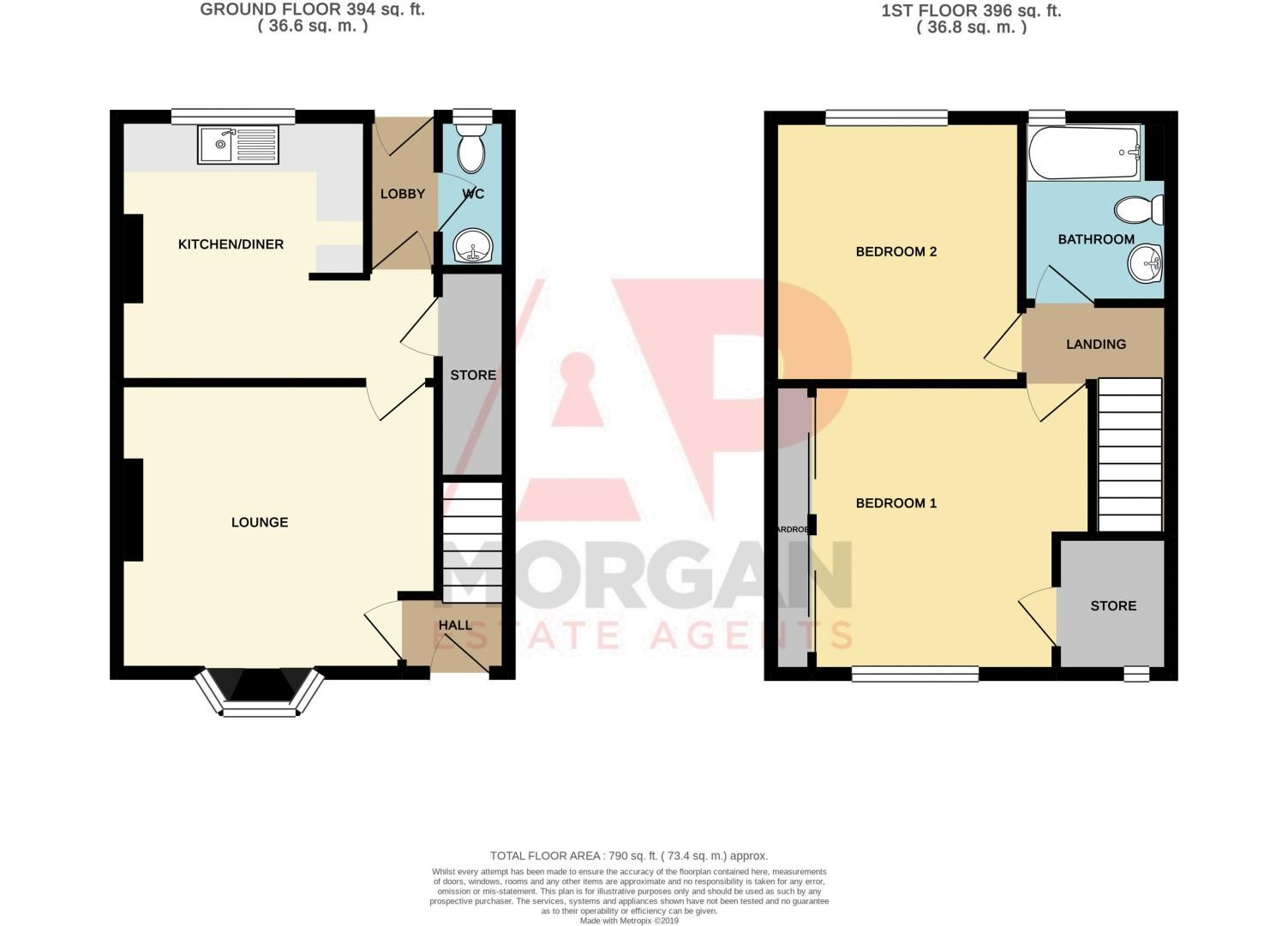 2 bed house for sale in Round Hill Terrace - Property Floorplan
