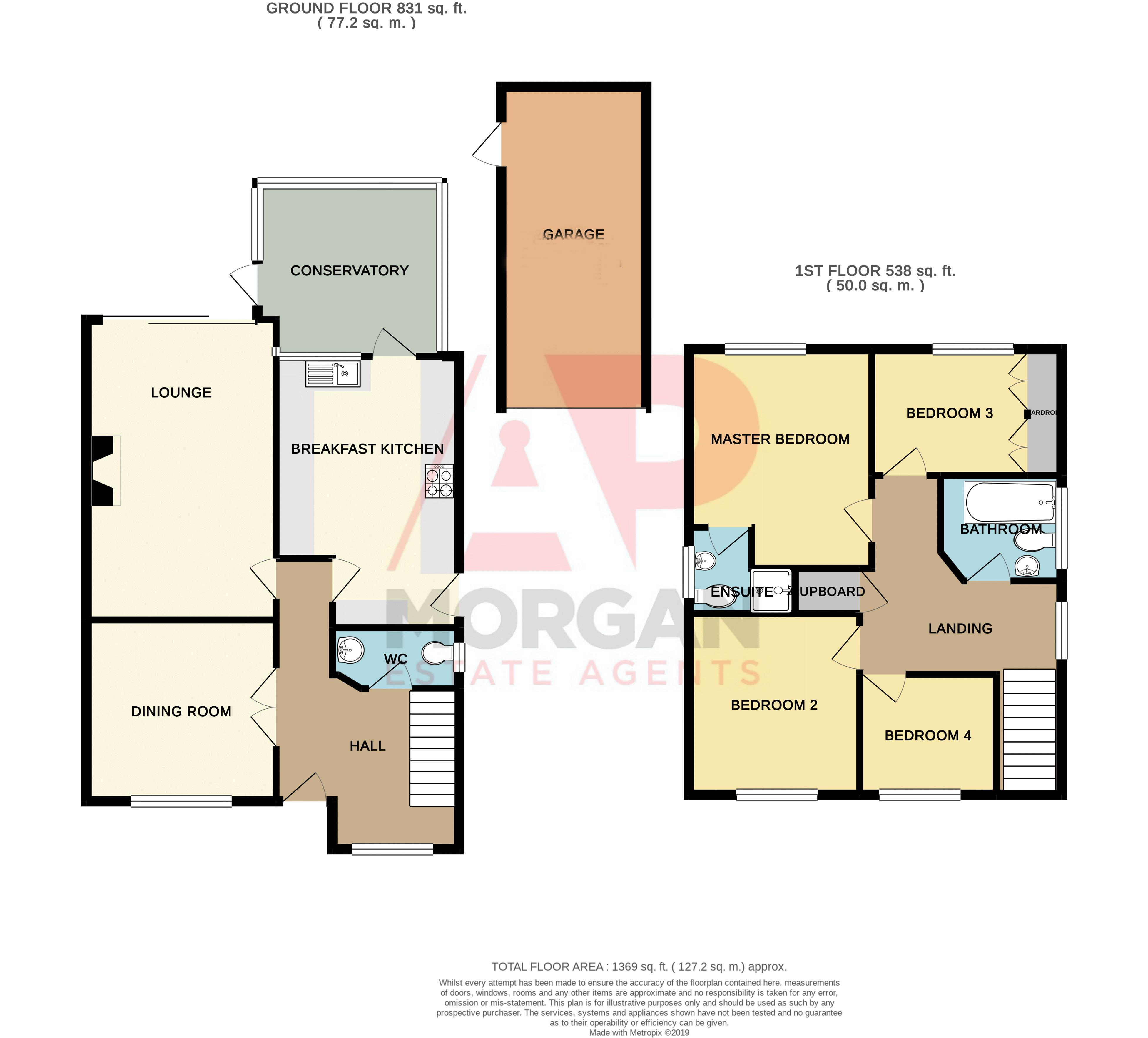 4 bed house for sale in Harlech Close - Property Floorplan