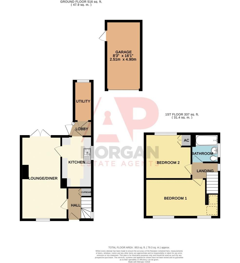 2 bed house for sale in Murcroft Road - Property Floorplan