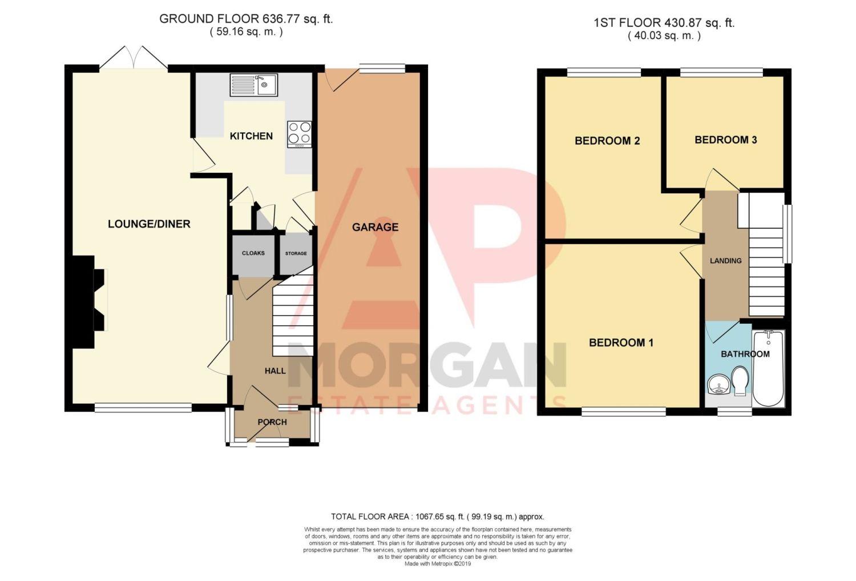 3 bed semi-detached for sale in Beachcroft Road, Wall Heath - Property Floorplan